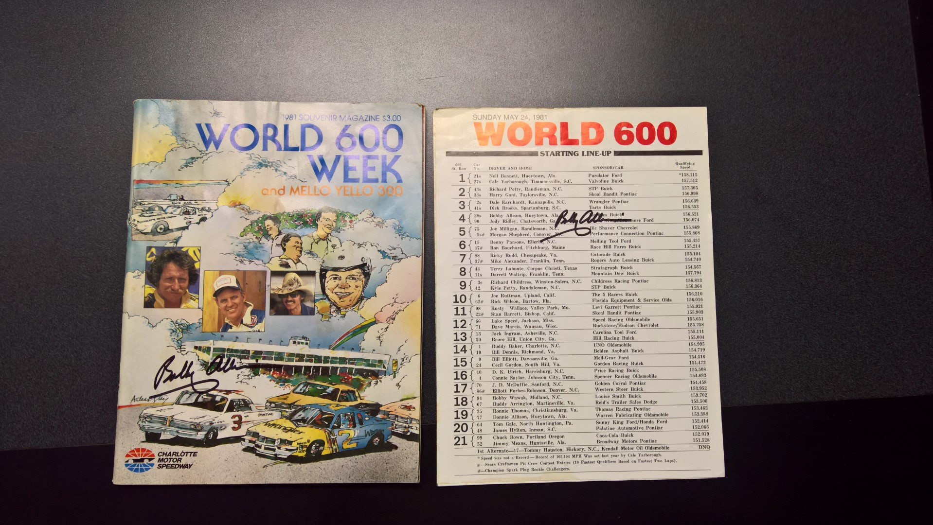 Signed 1981 Charlotte World 600 Program & Starting Lineup Sheet
