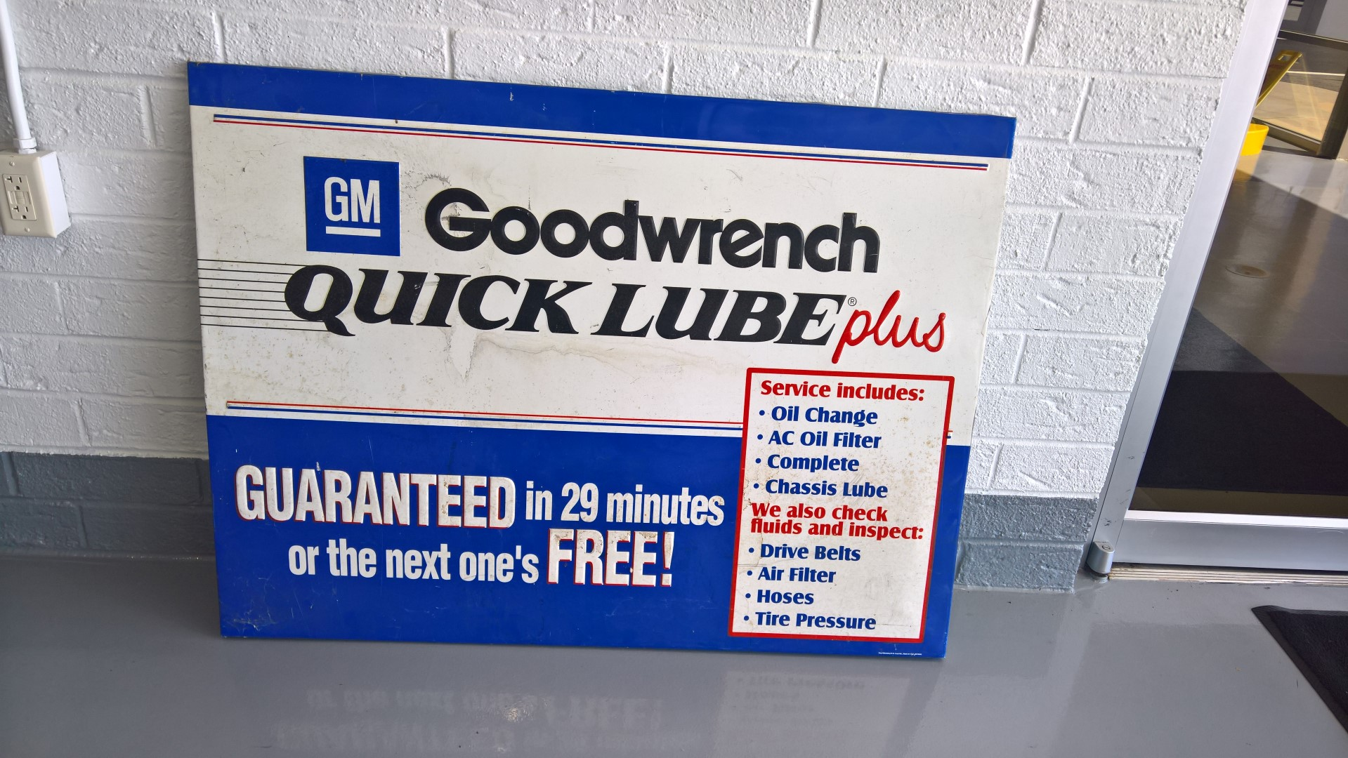 Vintage Quick Lube Sign from Dale Earnhardt Chevy