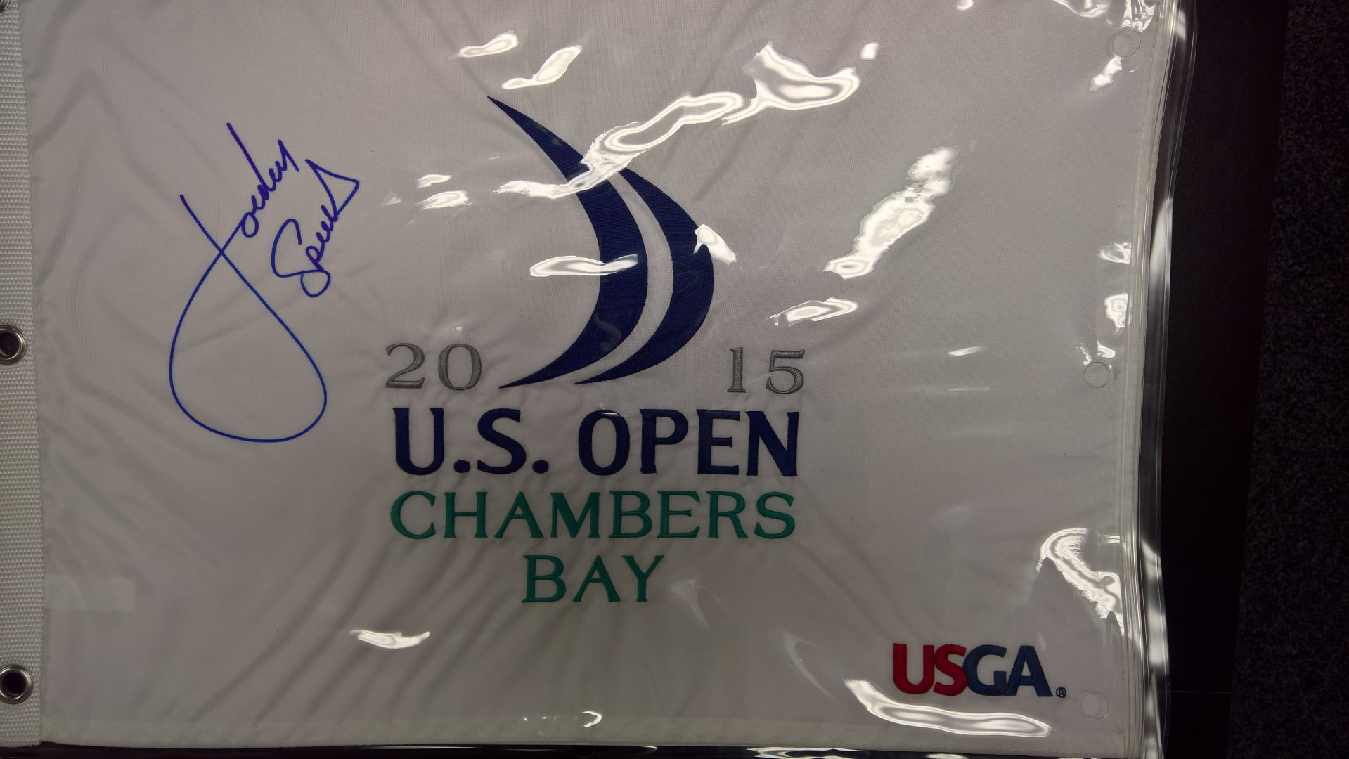 2015 US Open (Chambers Bag) Flag Signed by Jordan Spieth