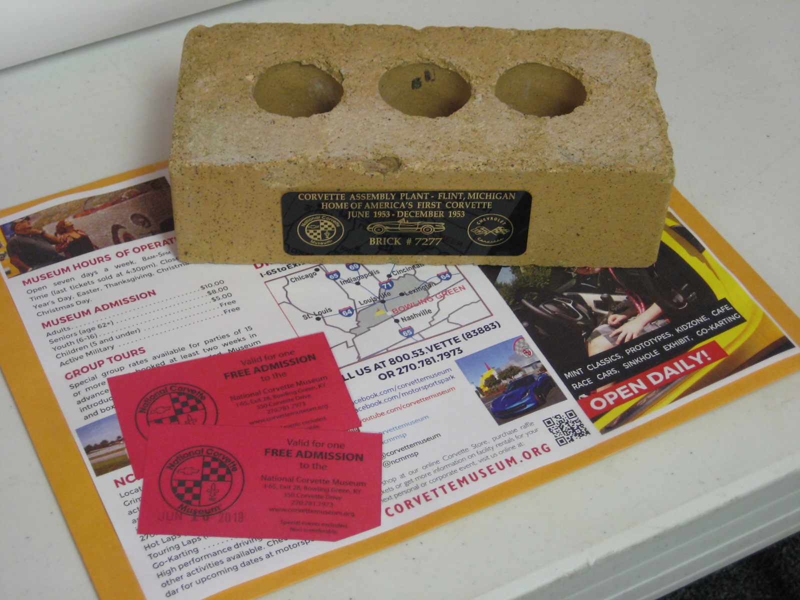 Actual Brick from Corvette Assembly Plant & 2 Tickets
