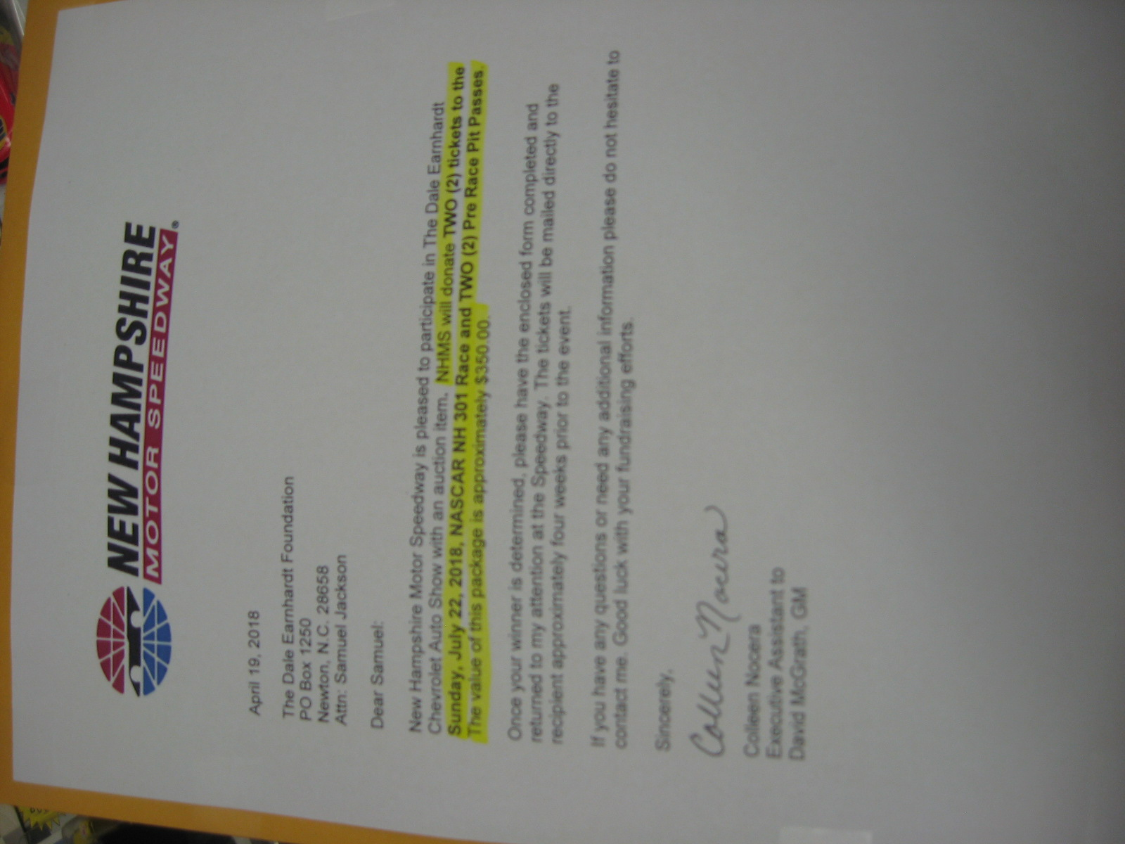 2 Tickets to NASCAR Race at New Hampshire Motor Speedway