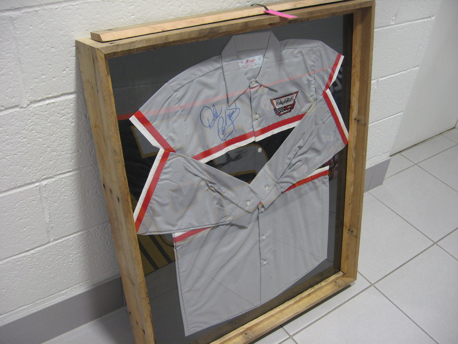 Signed & Framed Dale Earnhardt Chevrolet Technician Shirt