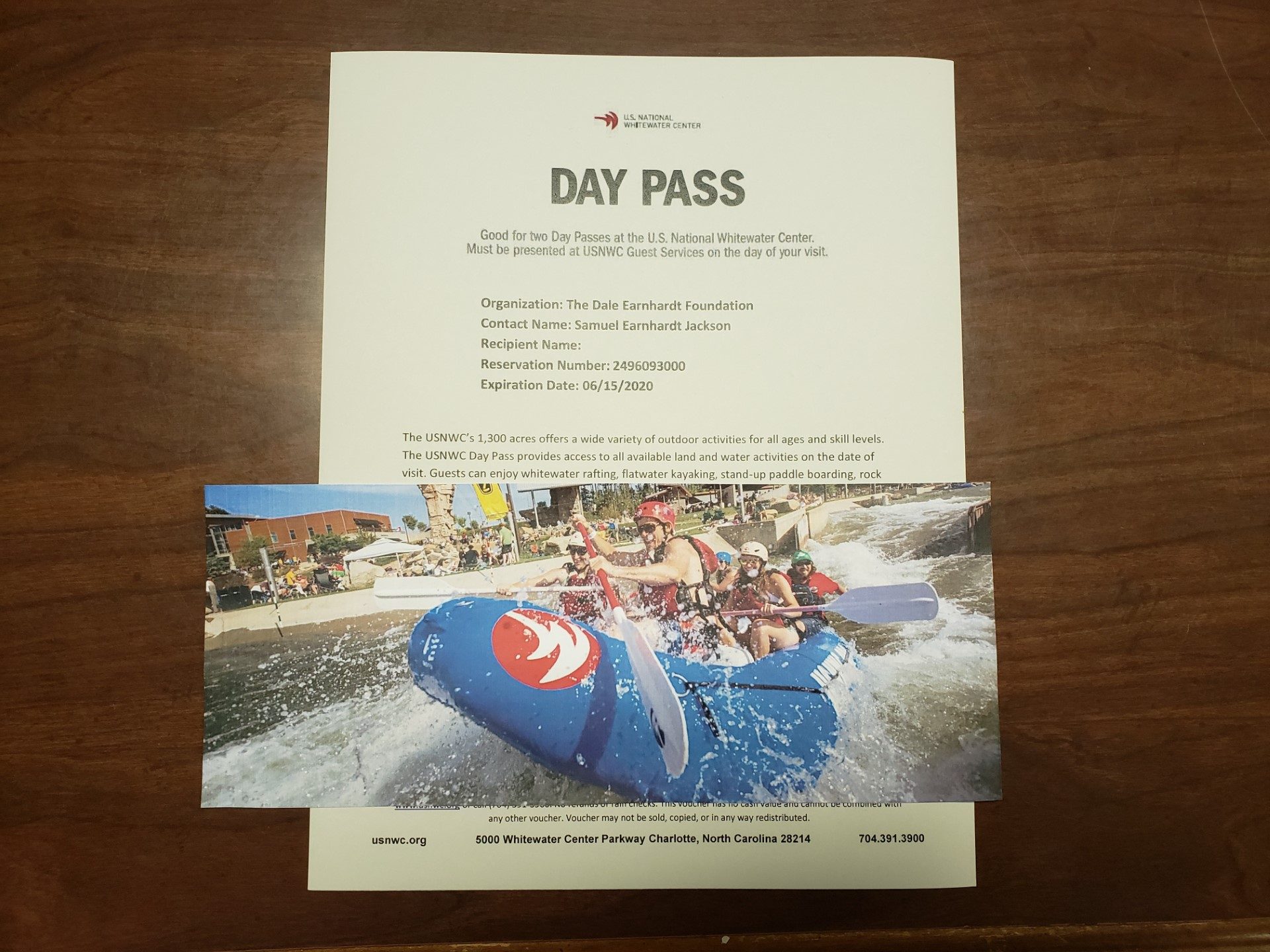 2 US National Whitewater Center Tickets