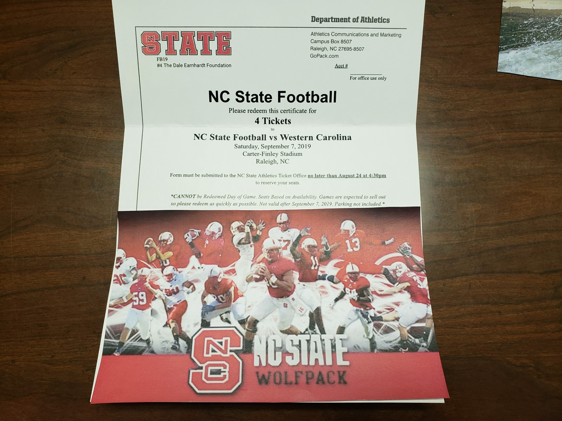 4 Tickets to NC State Football Game
