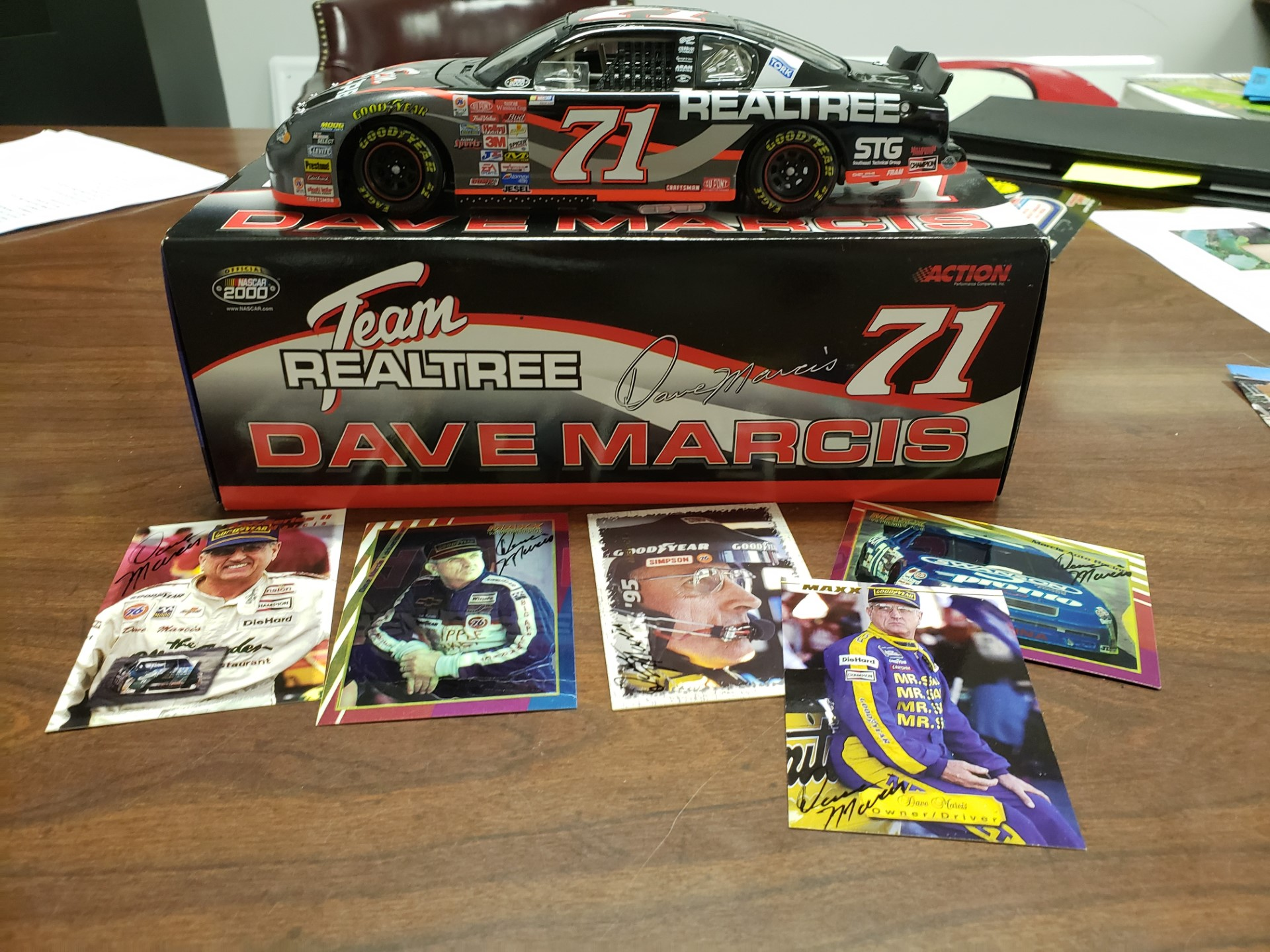 Signed Dave Marcis Diecast Car and Cards